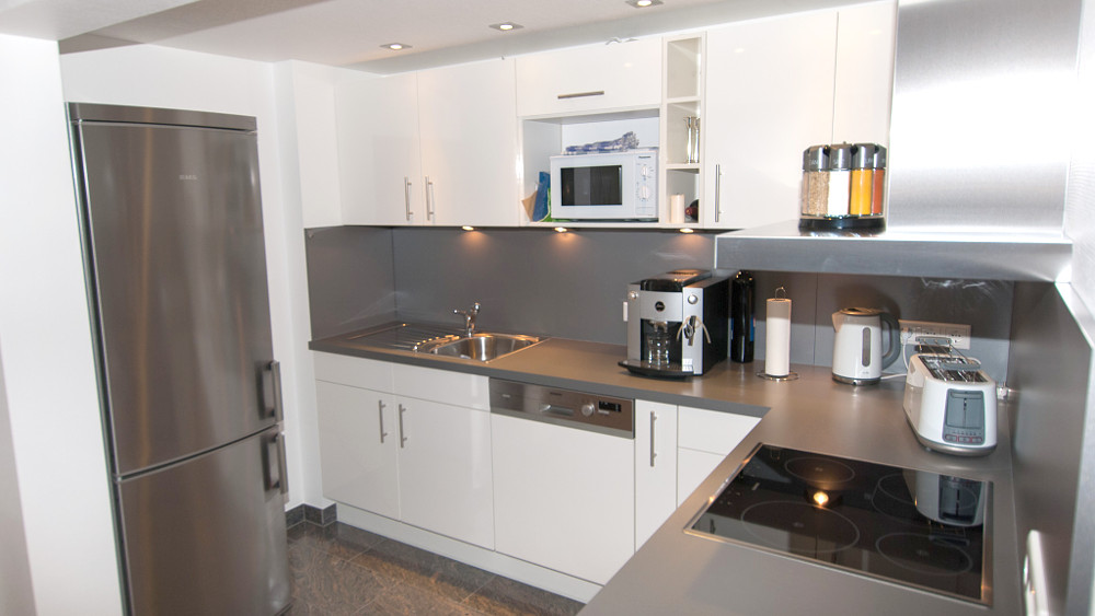 Fully equipped kitchen with large refrigerator and freezer